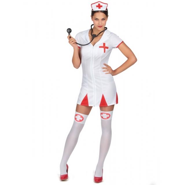 Combinaison-blanche-courte-d-infirmiere-sexy